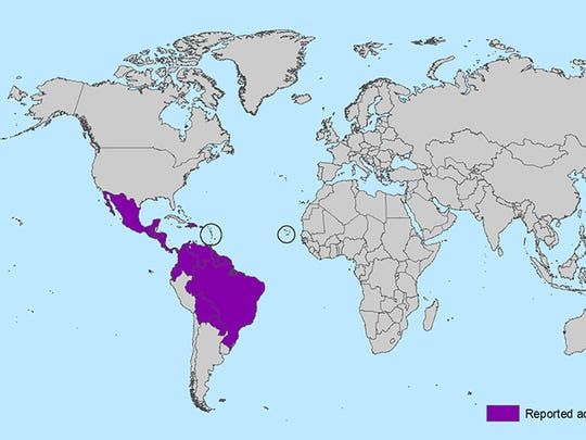 Areas with active Zika virus transmission. (Source: Centers for Disease Control.)