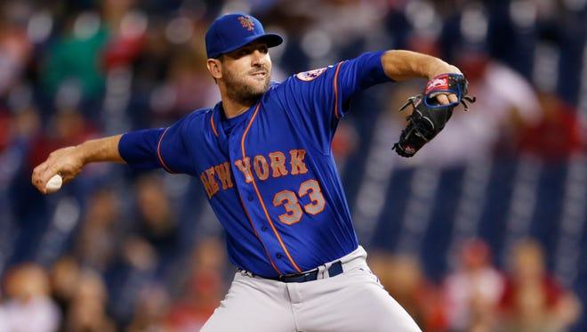 New York Mets starting pitcher Matt Harvey (33) throws in the first inning of a baseball game against the Philadelphia Phillies, Friday, Sept. 29, 2017, in Philadelphia.