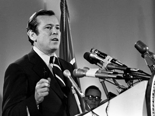 U.S. Sen. Howard Baker, speaking at a rally of supporters at the King of the Road Motor Inn in Nashville, announces May 19, 1972, that he will seek re-election to the U.S. Senate.