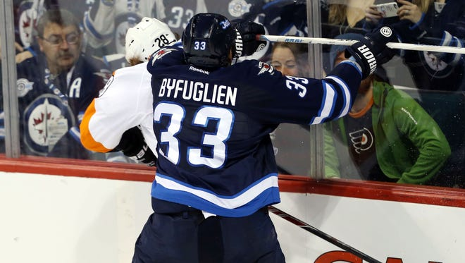 Dustin Byfuglien was tracking Claude Giroux all night when the two teams met in December.