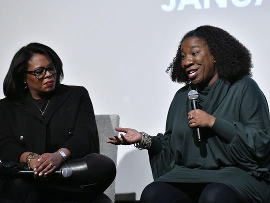 """Lifetime executive Brie Miranda Bryant and activitst Tarana Burke speak at a screening of """"Surviving R. Kelly Part II: The Reckoning"""" at Crosby Street Hotel on December 17, 2019 in New York City."""