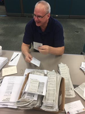 On Monday, March 6, 2017, Rich Campbell, opinion writer and member of the Treasure Coast Newspapers Editorial Board, sorted through and later delivered almost 1,400 letters from readers to Sen. Joe Negron's office in Palm City.
