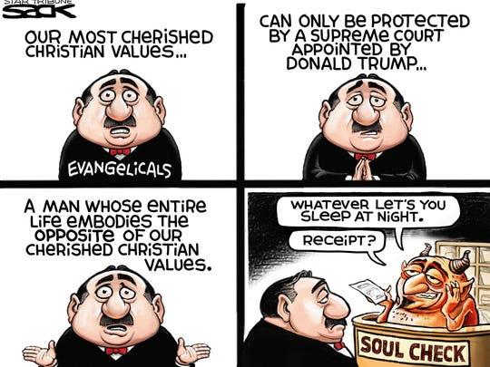 Steve Sack, The Minneapolis Star Tribune, drew this editorial cartoon.