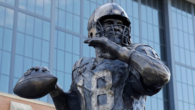 The Peyton Manning statue is seen outside of Lucas Oil Stadium, Saturday, Oct. 7, 2017, in Indianapolis.