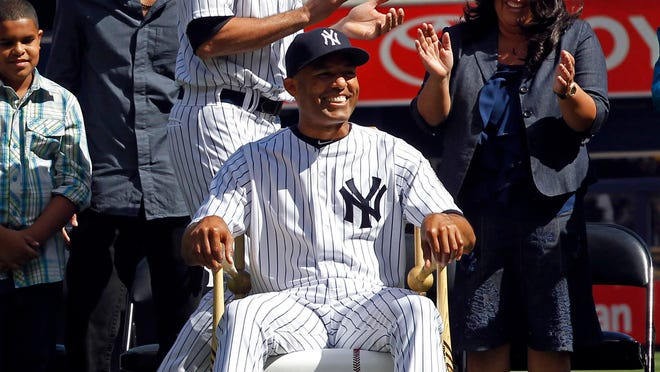 Mariano Rivera is all smiles during pre-game ceremony honoring the Yankee reliever.