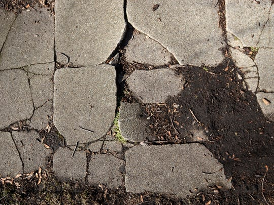 broken up pieces of sidewalk Monday, Feb. 1, at the corner of Westminster and North Elizabeth Streets in Marine City.