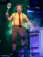 "Ethan Slater stars as SpongeBob SquarePants in the Broadway production of ""SpongeBob SquarePants: The Musical."""