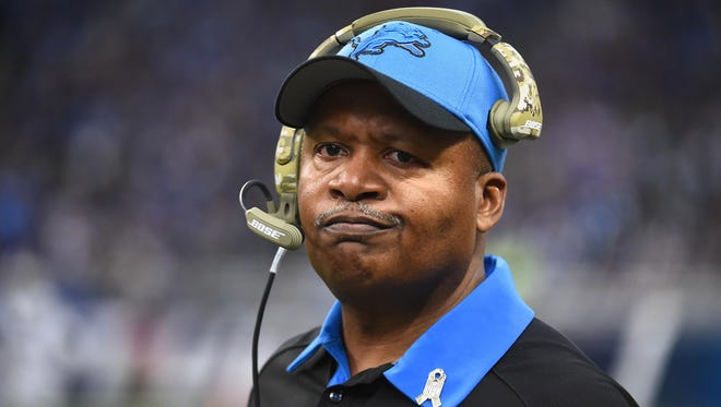 Detroit Lions coach Jim Caldwell looks on during the third quarter against the Oakland Raiders at Ford Field.