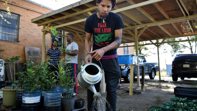 Jackson resident brandon king, who spells his name in all lowercase letters, waters plants in a garden behind Cooperation Jackson on Oct. 4, 2017, in Jackson.