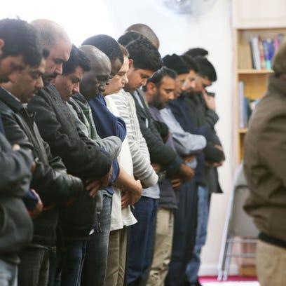 Congregants gather for Jumah prayer at the Masjid Ibrahim