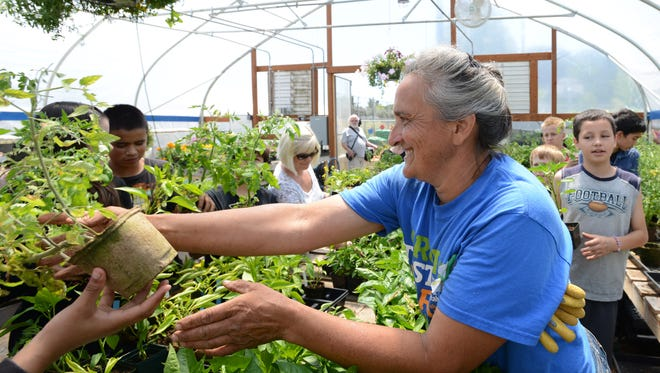 School Garden Coordinator Brenda Knobloch hands out tomato plants to students after they worked in the garden Parrish Middle School at Wednesday, June 11, 2014. She was recognized with a lifetime achievement award at the Mid-Valley Green Awards on Saturday, March 1\1, 2017.