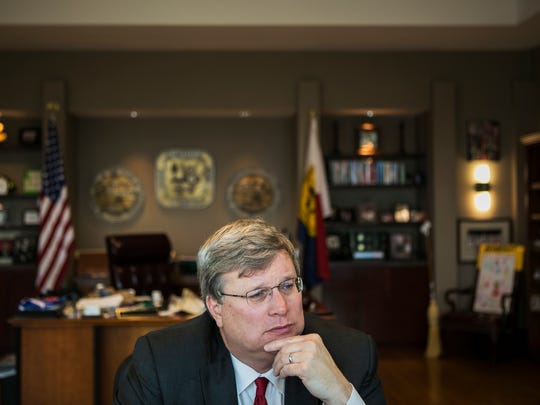 "December 21, 2017 - City of Memphis Mayor Jim Strickland discusses the removal of the Confederate monuments in his office on Thursday afternoon. On Wednesday night, the Confederate statues of Nathan Bedford Forrest and Jefferson Davis were removed from downtown parks. ""The events in Charlottesville sort of really galvanized across the country support for this. This is not a unique thing to Memphis at all,"" Strickland said. ""So I'm thankful for all the support that we got."""