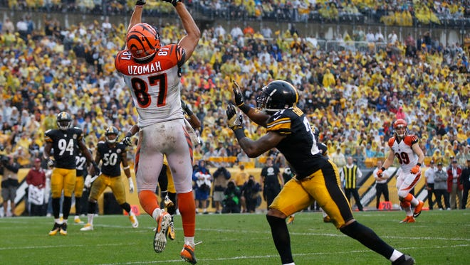 Cincinnati Bengals tight end C.J. Uzomah (87) leaps to catch a pass in the end zone, but it was ruled incomplete in the third quarter during the Week 2 NFL football game between the Pittsburgh Steelers and the Cincinnati Bengals, Sunday, Sept. 18, 2016, at Heinz Field in Pittsburgh.