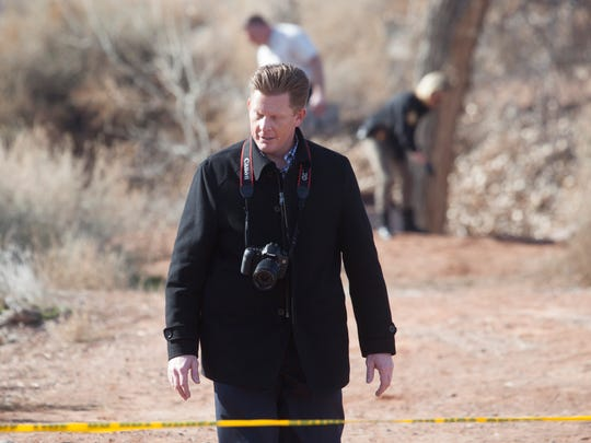 Crews respond to a report of a dead body found near Halfway Wash Trail Thursday, Jan. 14, 2016.