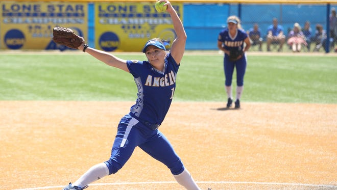 Angelo State University's Morgan Hill was the winner in the first game of Saturday's Lone Star Conference doubleheader sweep against Cameron at Mayer Field.