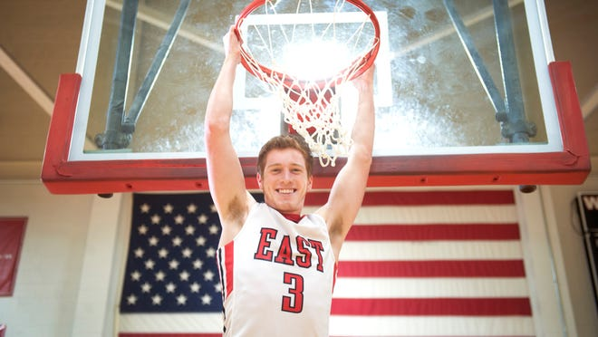Portrait of Cherry Hill East's Jake Silpe, boys' basketball player of the year. 03.20.15
