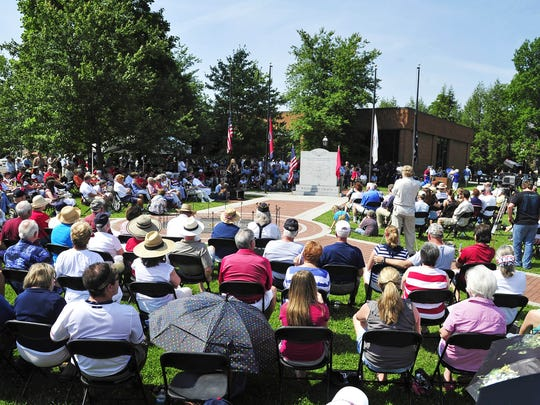A crowd attends a previous Memorial Day event at the Williamson County Veterans Memorial Park.