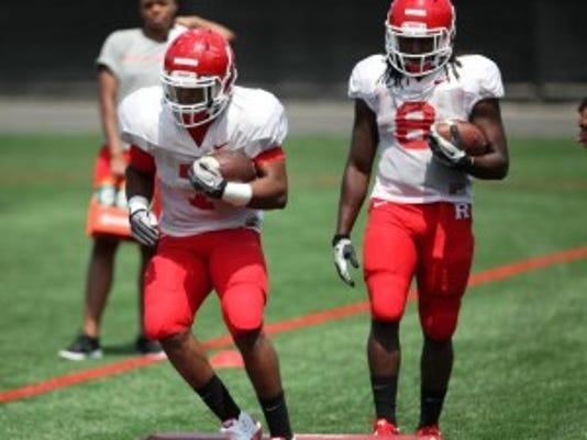 Rutgers freshmen halfbacks Robert Martin (7) and Josh Hicks (8) are options to return kickoffs in the season-opener. (Jason Towlen/MyCentralJersey.com)