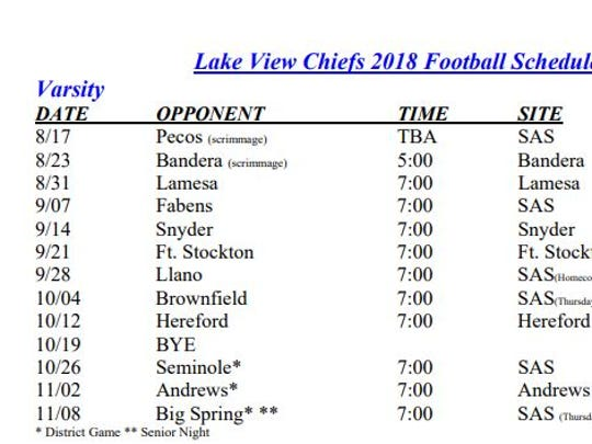Lake View High School's 2018 football schedule, according