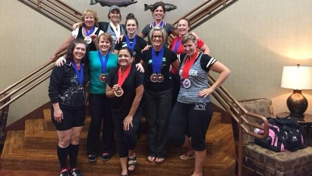 """Ladies from the """"Fitness with Jackie"""" studio at the USPA Oregon State Open Powerlifting Competition, held June 13 in Newport."""