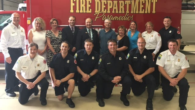 Sen. Jerry Petrowski, back row center, with members of the Wausau Fire Department.