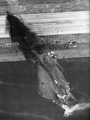 This aerial file photo shows the crash path of United flight 232 at the Sioux City Gateway Airport.