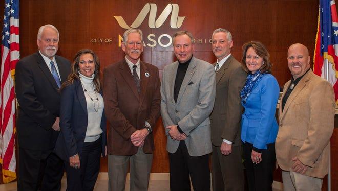 2015 City of Mason Council. From left: Don Prince, Char Pelfrey, Jim Fox, Mayor David Nichols, Vice Mayor Victor Kidd, Barbara Berry-Spaeth and Rich Cox.
