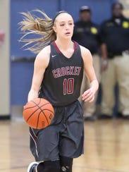Crockett County's Elli Pratt brings the ball down the