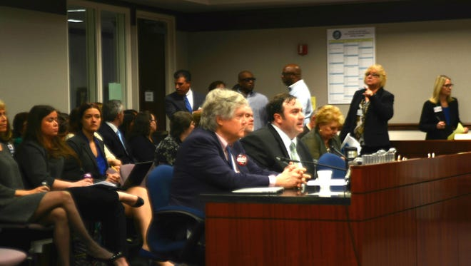 Assemblyman James Ohrenschall and Nevada Sen. Tick Segerblom speak in support of AB237, which would end the death penalty, at a legislative hearing on March 29,2017.