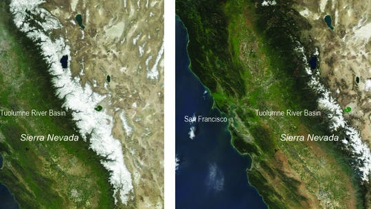 These two natural-color satellite images of the snow cover in the Sierra Nevada in California and Nevada show the last year with average winter snowfall, 2010, compared with 2015 -- a year that had the lowest snowpack in 500 years.