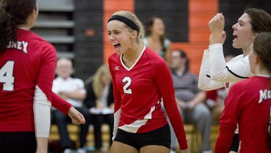 Cardinal Mooney junior Lilly Wolf celebrates as they come back against Marine City during a volleyball game Thursday, September 17, 2015 at Marine City High School.