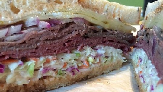 #8: Pastrami with Swiss and coleslaw on rye from Clawson's