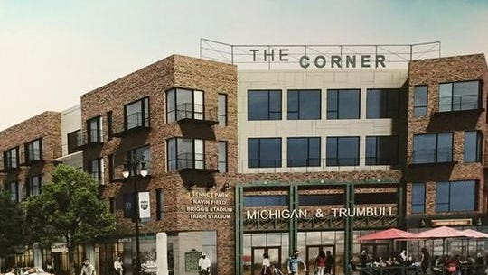 "A rendering shows ""The Corner,"" the Eric Larson plan for old Tiger Stadium site in Detroit."