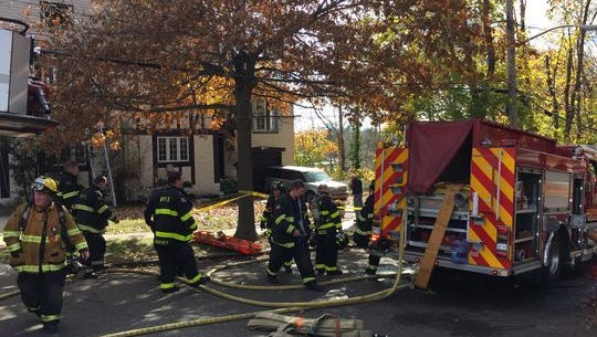 White Plains firefighters at the scene of a Nov. 14 blaze at 29 Nutgrove St.
