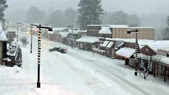 The village of Ruidoso webcam shows conditions during the height of the storm Sunday. (Photo: Courtesy/Village of Ruidoso)