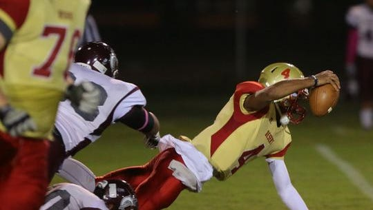 Stephen Johnson II dives for a touchdown.