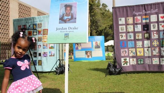 Jordan Drake, who had a heart transplant, at a Donate Life event.