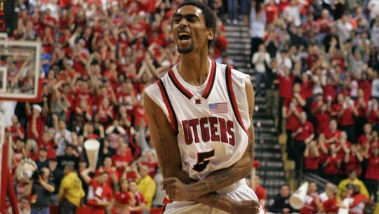 Quincy Douby celebrates a game-winning shot in 2005.