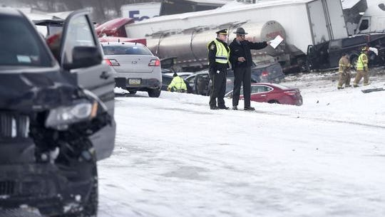 Interstate 78 was closed just west of the 78/22 interchange in Bethel Township, Lebanon County, PA. Saturday morning after a multiple-vehicle accident shut down both east and west lanes. It was reported that 15 were reported trapped, with three fatalities. It is estimated 30-50 vehicles were involved in the accident.