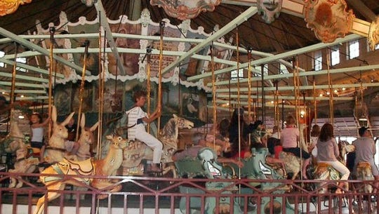 The historic Dentzel Carousel at Ontario Beach Park in Rochester was built in 1905.