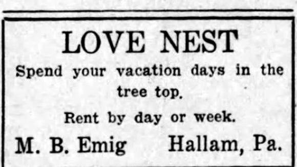 The Love Nest, as advertised in the The Gazette and Daily in 1938.