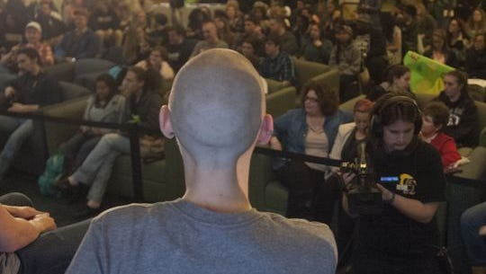 Lat year, Rowan's St. Baldrick's Day event included 66 shavees — seven of them female, including Sarah Poole — and raised $28,195 for pediatric cancer research.