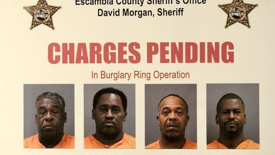 The Escambia County Sheriff's Office issued this flyer in 2014 after four suspects in a string of commercial burglaries were captured. Friday, they were individually sentenced to between 10 years and life in prison.
