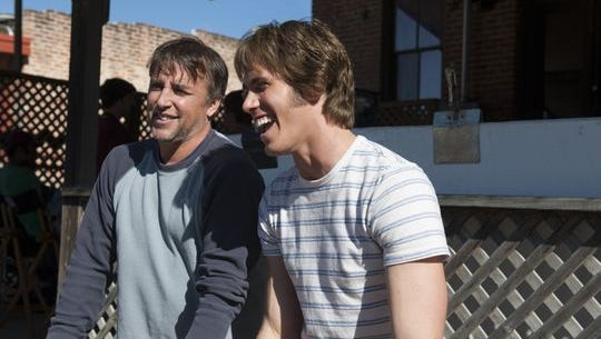 Richard Linklater and Blake Jenner on the set of 'Everybody Wants Some!!'