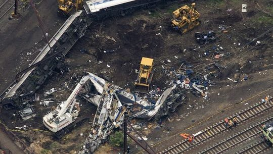 The remains of an Amtrak train that derailed on its way from Washington, D.C. to New York City are seen from a helicopter just outside Philadelphia.
