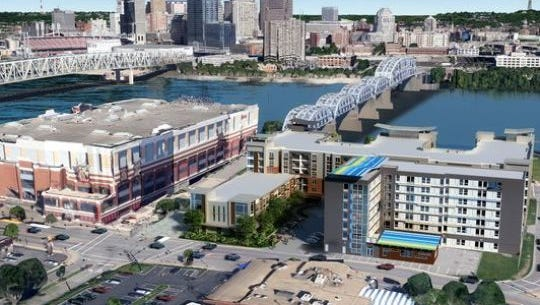 A rendering of the proposed mixed-use development adjacent to Newport on the Levee.