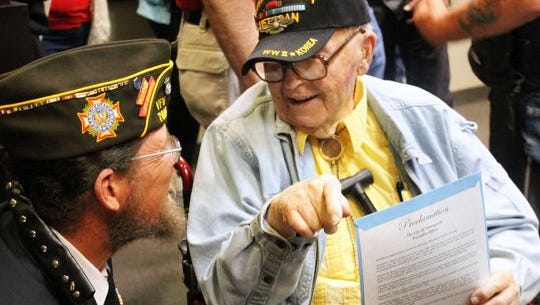 """Mayor Richard Boss declared April 8 """"Stephen DuBois Day"""" to honor the local veteran on his 95th birthday. Many current members of the military and veterans were in attendance of the event and stayed to thank DuBois for his service."""