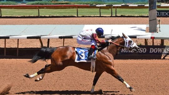 Volcom Bay was the fastest qualifier Sunday for next month's Ruidoso Derby for 3-year-old quarter horses with a time of 19.618. Rodrigo Sigala Vallejo was the winning jockey and Judd Kearl was the winning trainer.
