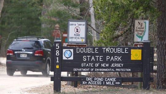 The entrance on March 25  into Double Trouble State Park in Berkeley from Double Trouble Road.