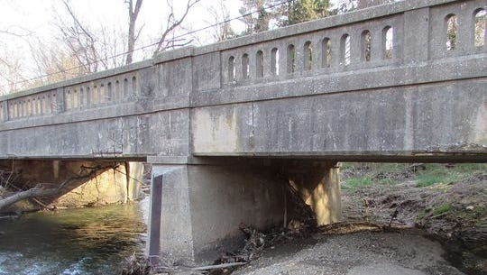 One of the 15 county bridges slated for replacement is the Route 124 bridge over Cabin Creek in Lower Windsor Township. Work is scheduled to begin this month.